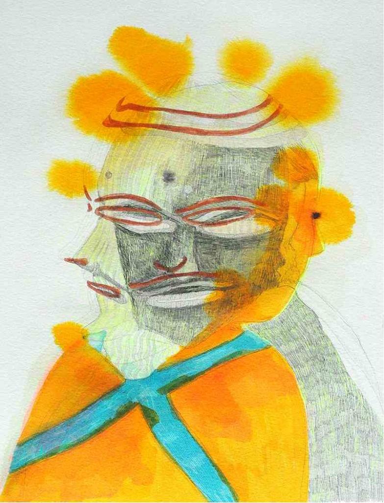 Adriana Ciudad_Triple Face_30,5x45,5cm_Bleistift und Aquarelle auf Fabriano Papier_2014