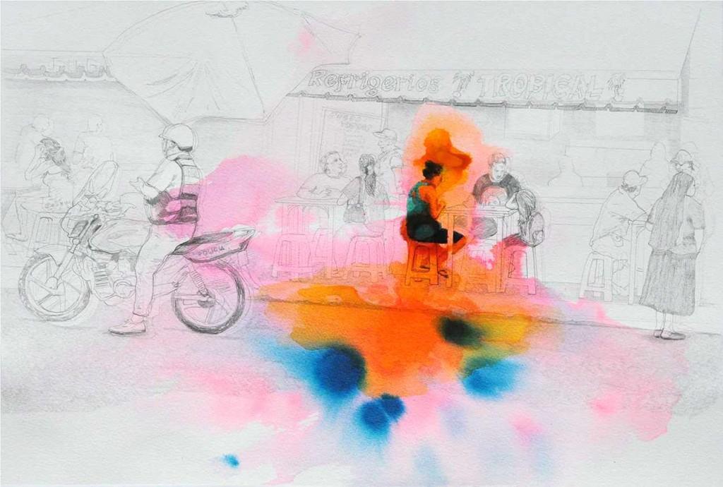 Adriana Ciudad_Tropical_30,5x45,5cm_Bleistift und Aquarelle auf Fabriano Papier_2014