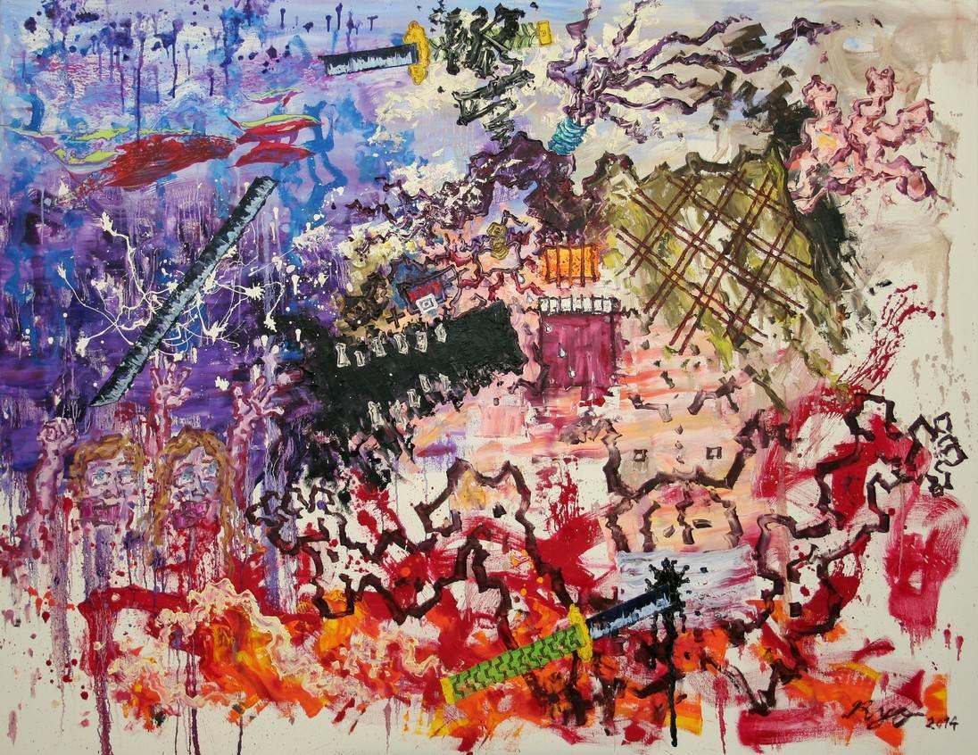 Das Ende eines hartnaeckigen Samurais,140x180cm,2014